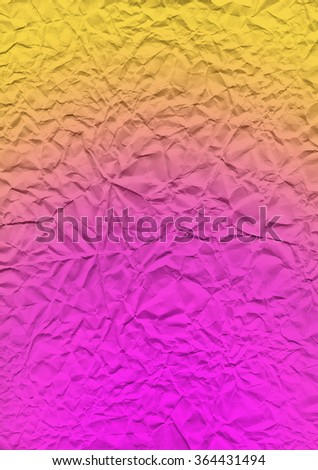 Paper texture with gradient overlay. The multi-colored bright texture of crumpled paper.  Lemon and pink expressive texture of the old paper. - stock photo