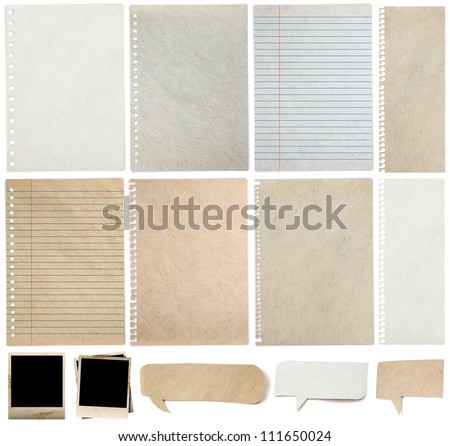 Paper textures background, isolated on white background Save Paths For design work ( paper sheets, lined paper, note paper, photo frame and  paper speech bubble ) - stock photo