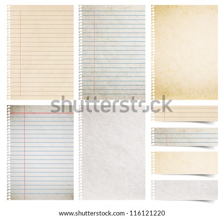 Paper textures background, isolated on white background Save Paths For design work ( paper sheets, lined paper and note paper craft stick ) - stock photo
