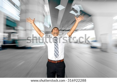 Paper Throwing. - stock photo