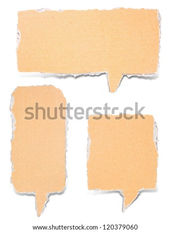 paper torn bubble talk tag craft stick on white background