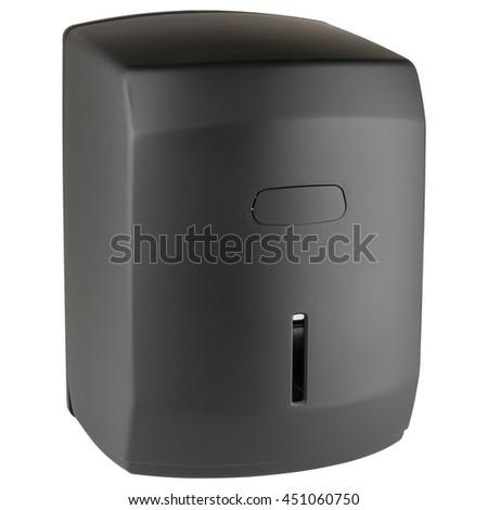 Paper towel dispenser made of matte black plastic - stock photo