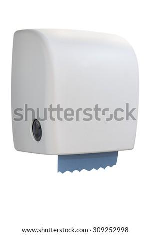 Paper towel dispenser made of white plastic - stock photo