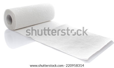 Paper towel roll, isolated on white - stock photo