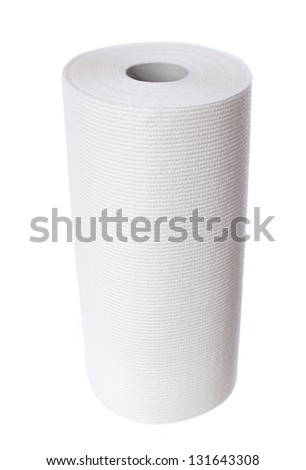 Paper towel roll isolated on white background - stock photo
