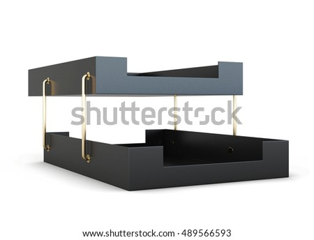 Paper tray isolated on white background. 3d rendering.