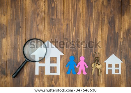 paper trees around paper house, Home Environment - stock photo