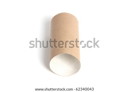 Paper tube isolated on white background