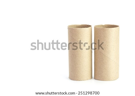 Paper tube of toilet paper isolated on white background - stock photo