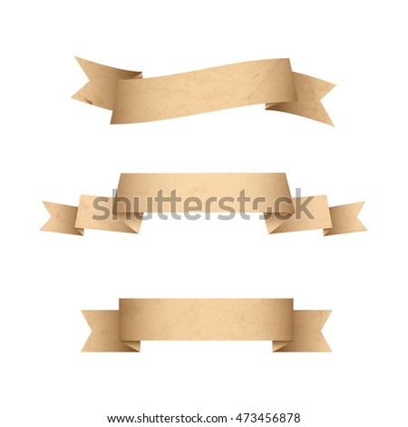 Paper Vintage grunge banners ribbons isolated on white background. Texture old paper