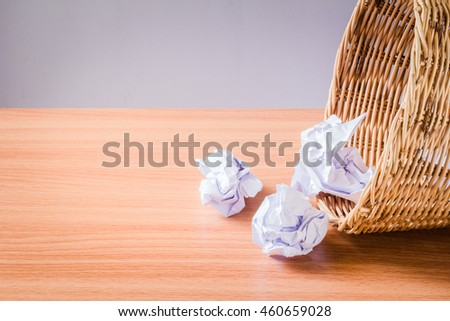 paper was crumpled in the trash. recycling - stock photo