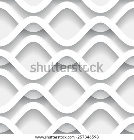Paper waves, abstract white raster background, wavy seamless pattern