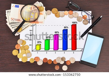 paper with business graphic and money - stock photo