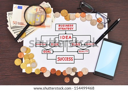 paper with business strategy and money - stock photo