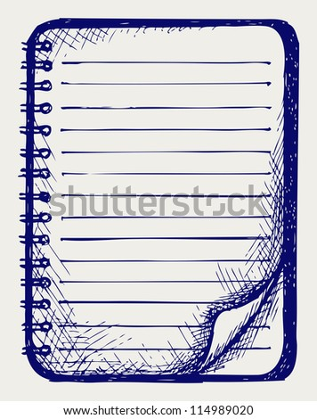 Paper with notebook. Doodle style. Raster version