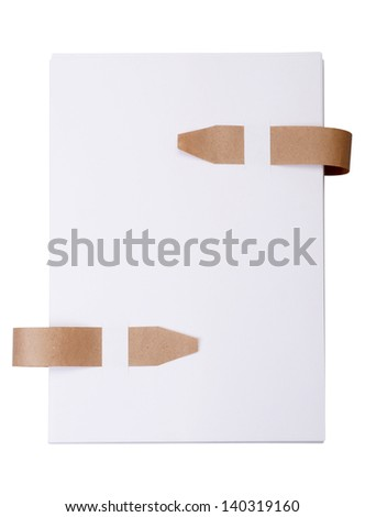 Paper with old bookmark ribbons isolated on a white background