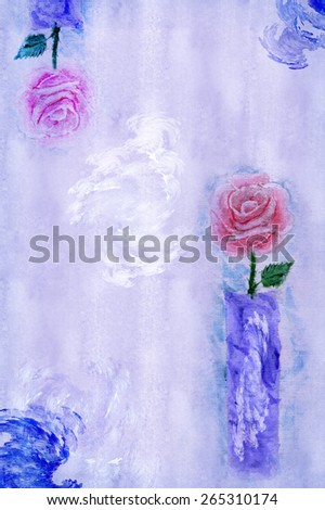 Paper with pink roses in a vase of lilac - stock photo
