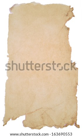paper with rough edges over white background
