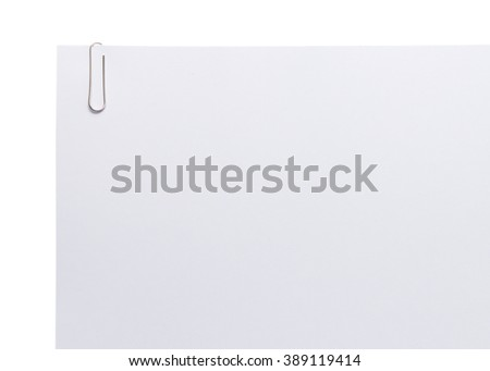 paperclip on white paper isolated on white