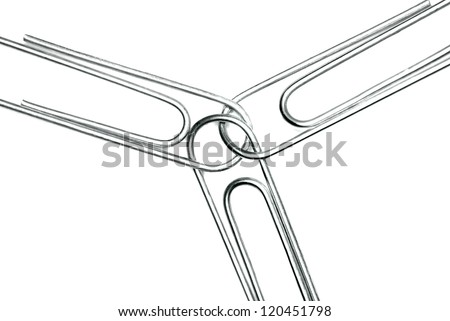 Paperclips attached to represent working together and teamwork - stock photo