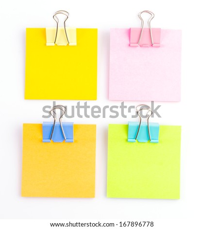 Paperclips note on isolated white background