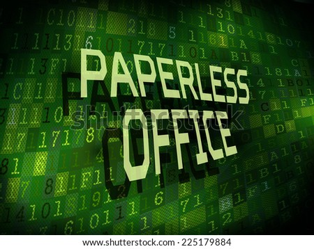 paperless office words isolated on internet digital background  - stock photo