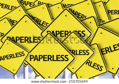 Paperless written on multiple road sign  - stock photo