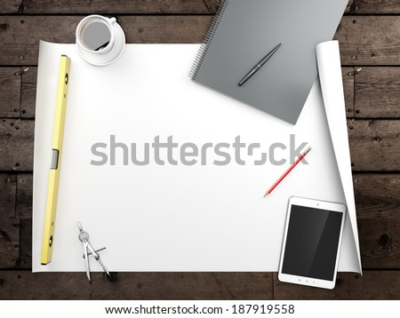papers with sketches on the table - stock photo