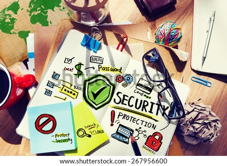 Paperwork Security Protection Information Login Concept - stock photo