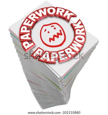 Paperwork word in 3d red letters on a stack of papers you must fill out in busy work - stock photo
