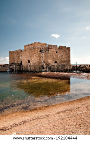 Paphos Castle is located on the edge of Paphos harbour. Cyprus - stock photo