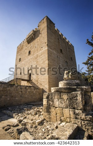 Paphos, Cyprus - March 20, 2015: The medieval castle of Kolossi. It is situated in the south of Cyprus, in Limassol.