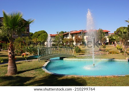 PAPILLON BELVIL, BELEK, TURKEY - October 14: view of entertainment complex on October 14, 2013 in Belek, Turkey. Popular hotel resort with pools and aquaparks in Turkey.  - stock photo