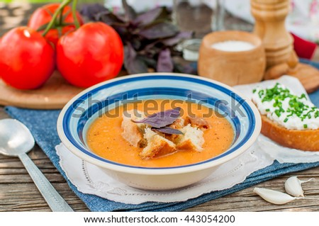 Pappa al pomodoro, Tuscan Tomato, Zucchini, Basil and Bread Cream Soup - stock photo