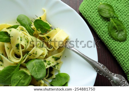 Pappardelle pasta with spinach on a white plate - stock photo