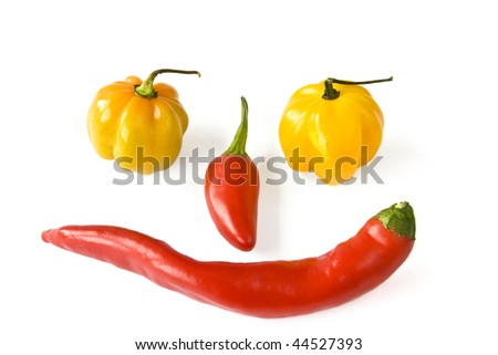 Paprika and chili as smiling face isolated on white
