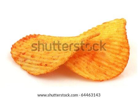 paprika chips on a white background - stock photo
