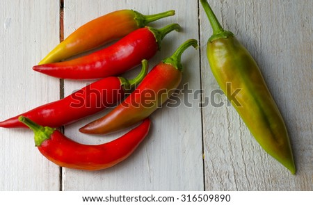 Paprika on white wooden table