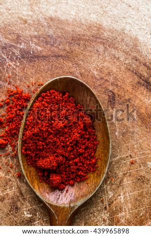 paprika on wooden spoon