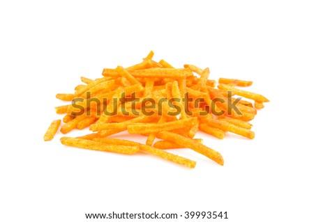 Paprika potato chips sticks isolated on white background - stock photo