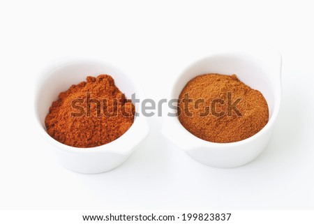 Paprika-spice in bowl on white background
