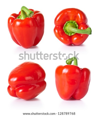 Paprika vegetable set on white background. Collection of red pepper. Each one shot separately - stock photo