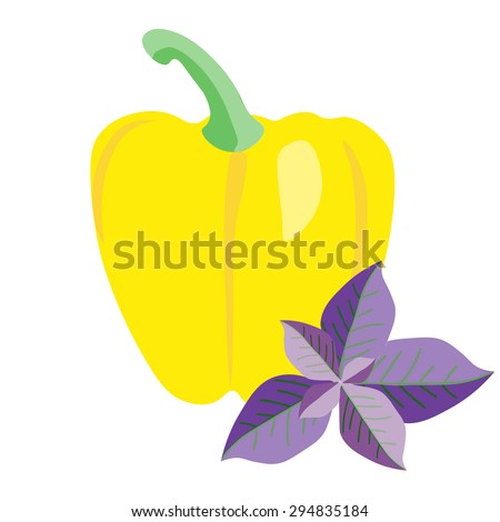 Paprika with basil leaves. Sweet  pepper . Cooking  ingredients elements. Italian cuisine background. - stock photo