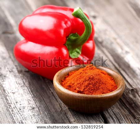 Paprika with fresh pepper - stock photo