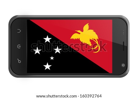 Papua New Guinea flag on smartphone screen isolated on white - stock photo