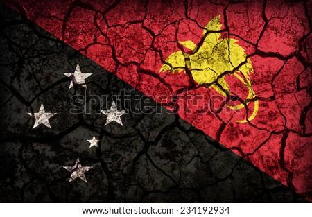 Papua New Guinea flag pattern on the crack soil texture ,retro vintage style - stock photo