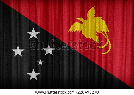 Papua New Guinea flag pattern on the fabric curtain,vintage style - stock photo
