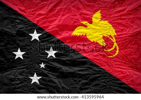 Papua New Guinea flag pattern overlay on floyd of candy shell, vintage border style - stock photo