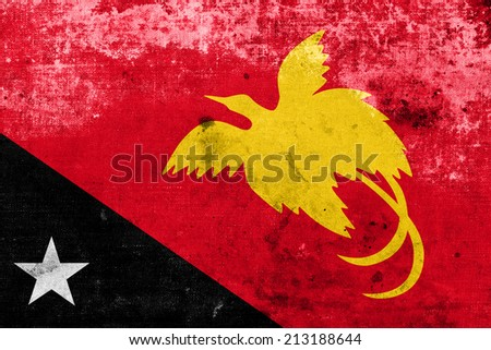 Papua New Guinea Flag with a vintage and old look - stock photo