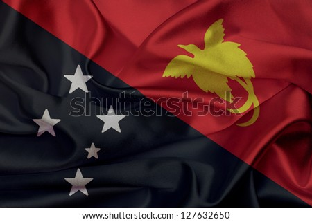 Papua New Guinea grunge waving flag - stock photo
